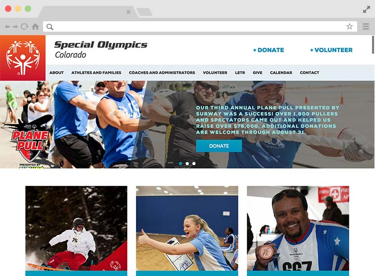 Speical Olympics Colorado Website Screenshot.